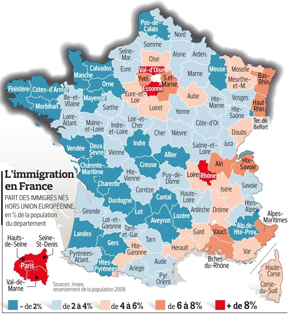 Carte de l'immigration par département en France